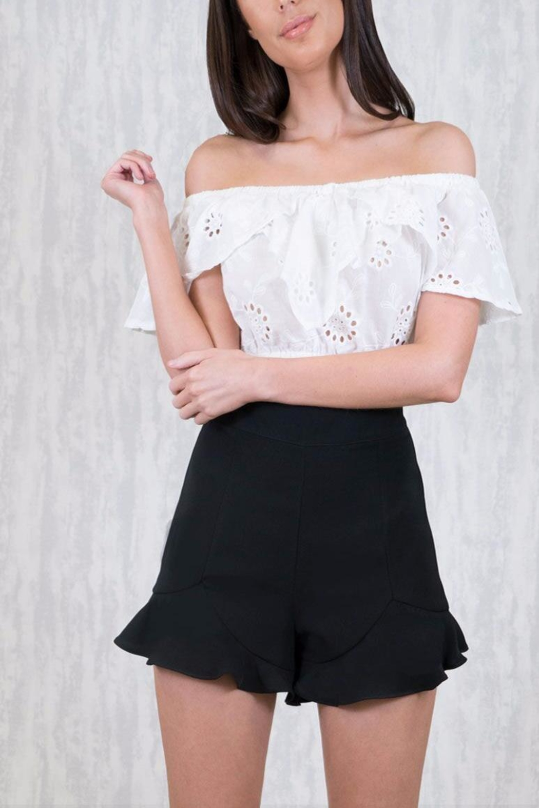 Ajoy Levora Frill Shorts - Front Cropped Image