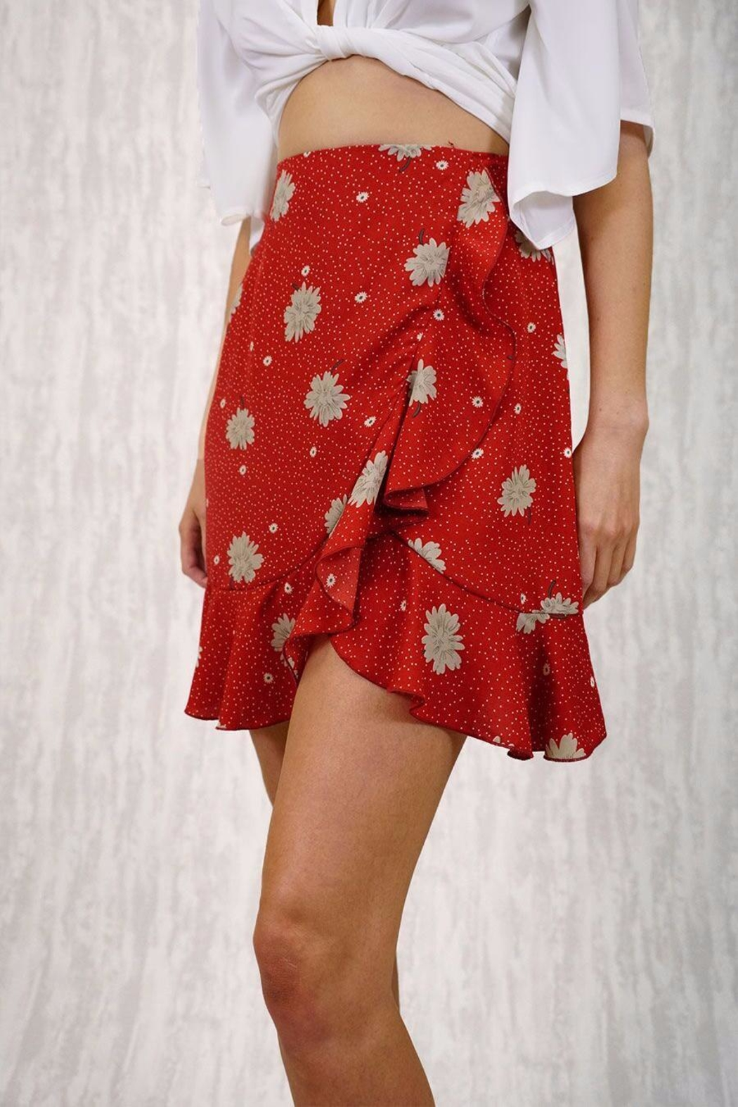Ajoy Levora Red Wrap Skirt - Side Cropped Image