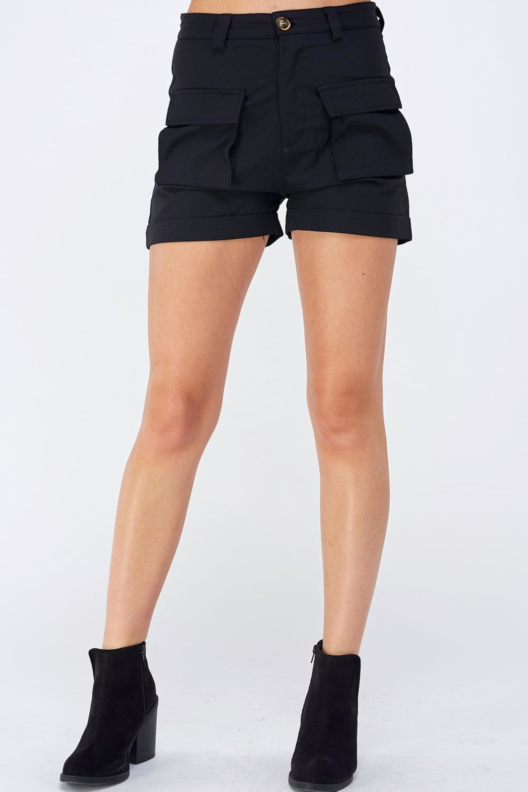 AKAIV Black Cargo Shorts - Front Cropped Image