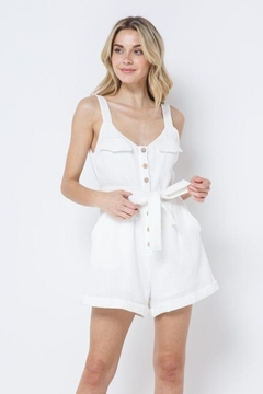 AKAIV Button Down Belted Romper - Alternate List Image