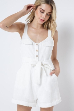 Shoptiques Product: Button Down Belted Romper