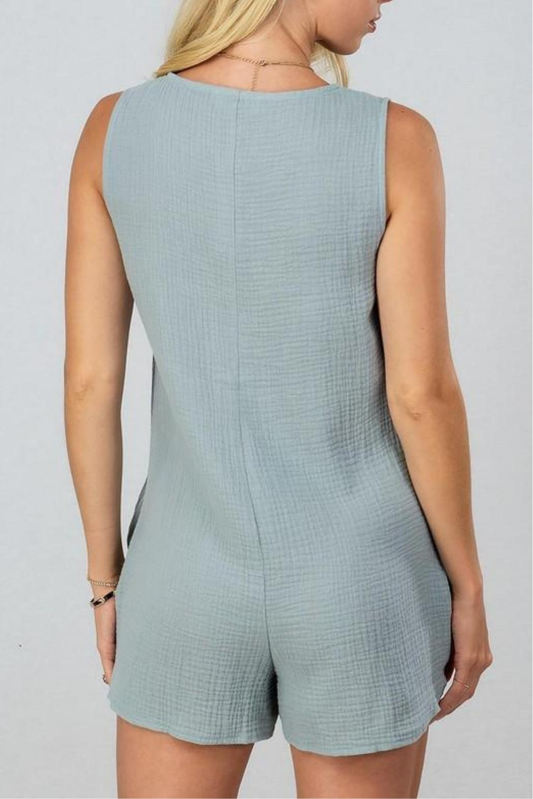 AKAIV Gauzy Button-Down Romper - Front Full Image