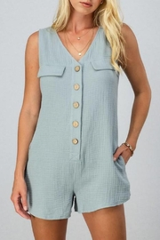 AKAIV Gauzy Button-Down Romper - Front cropped