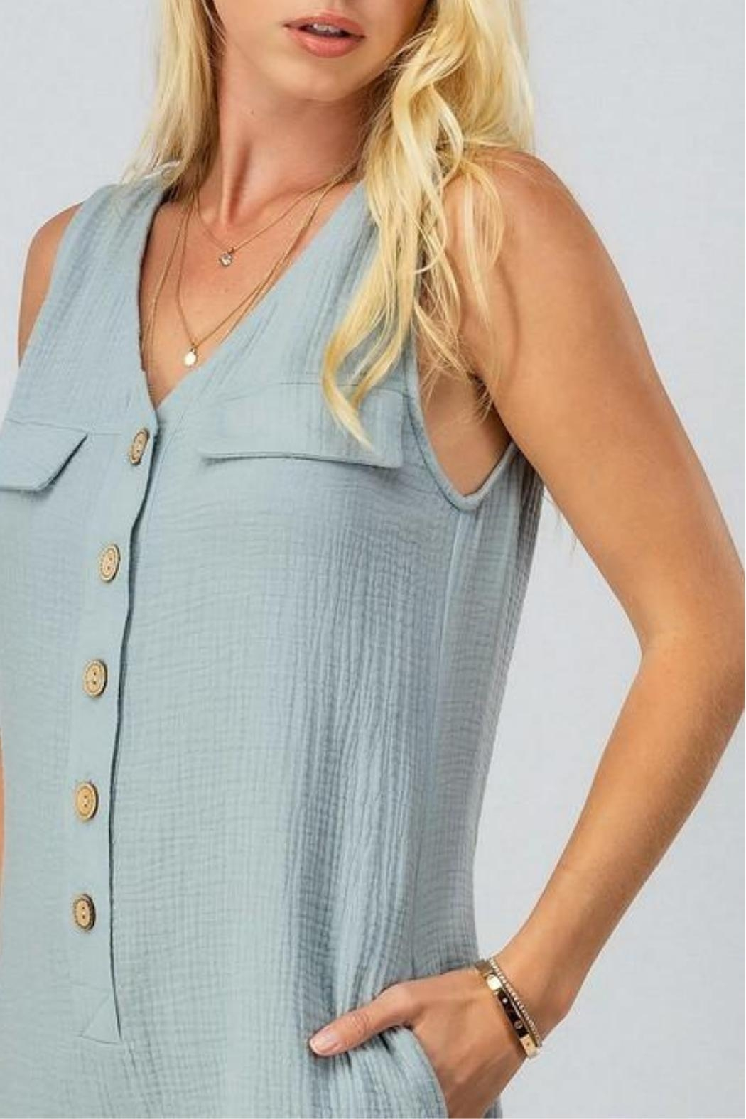 AKAIV Gauzy Button-Down Romper - Side Cropped Image