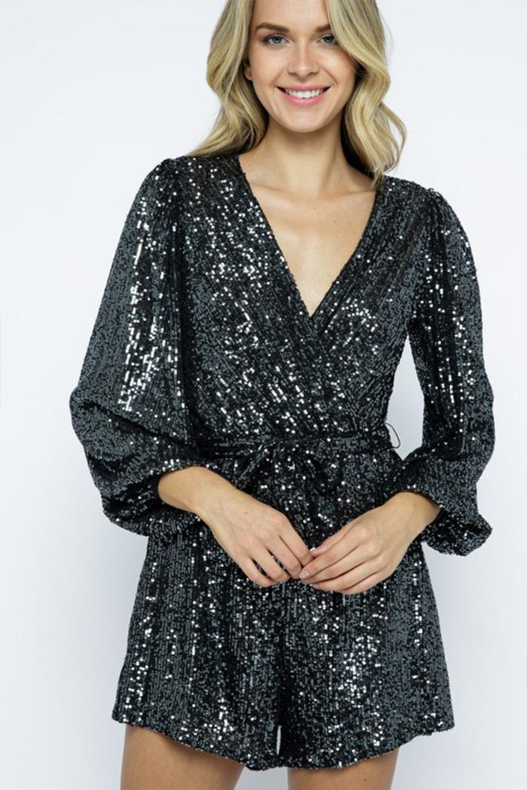 AKAIV Long-Sleeve Sequins Romper - Front Full Image