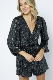 AKAIV Long-Sleeve Sequins Romper - Back cropped