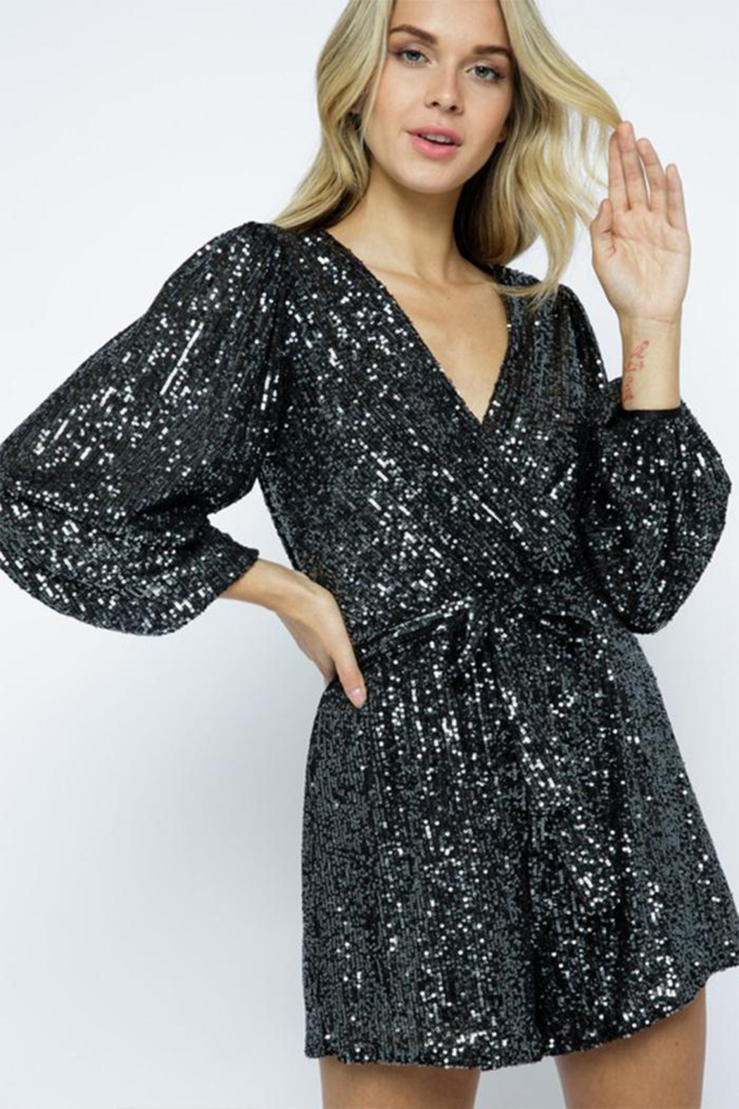 AKAIV Long-Sleeve Sequins Romper - Main Image