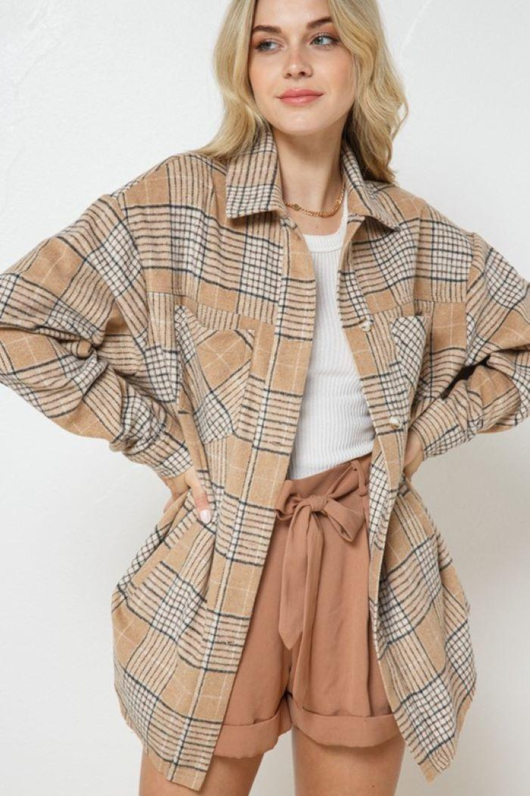 AKAIV Oversized Button Down Jacket - Front Cropped Image
