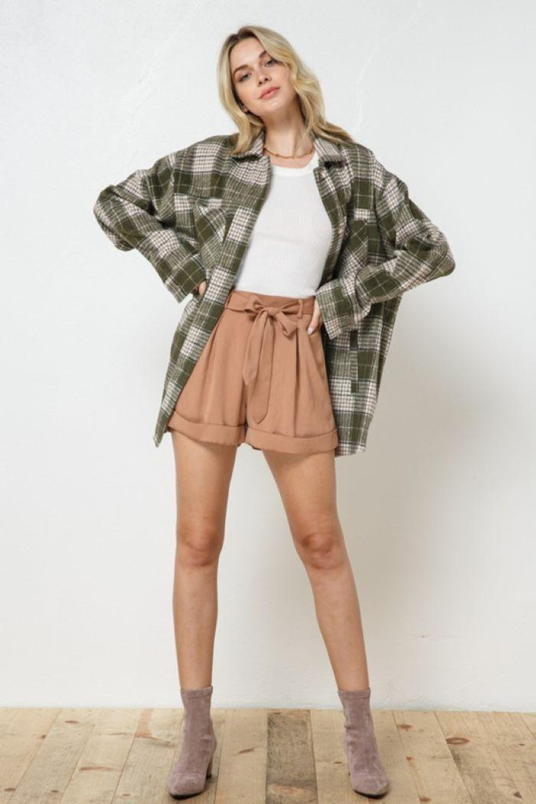 AKAIV Oversized Button Down Jacket - Back Cropped Image