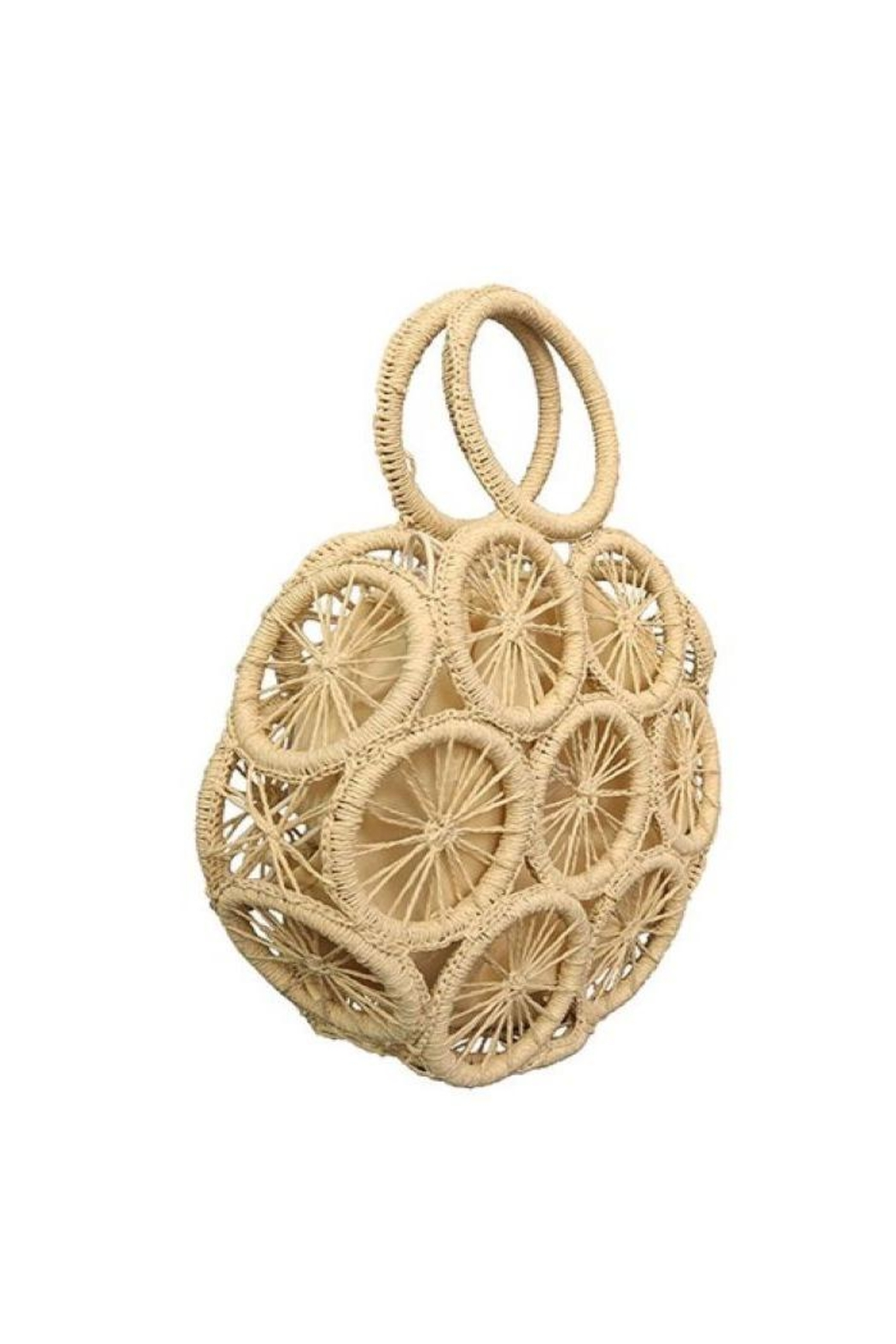 AKAIV Round Rattan Tote Bag - Front Full Image
