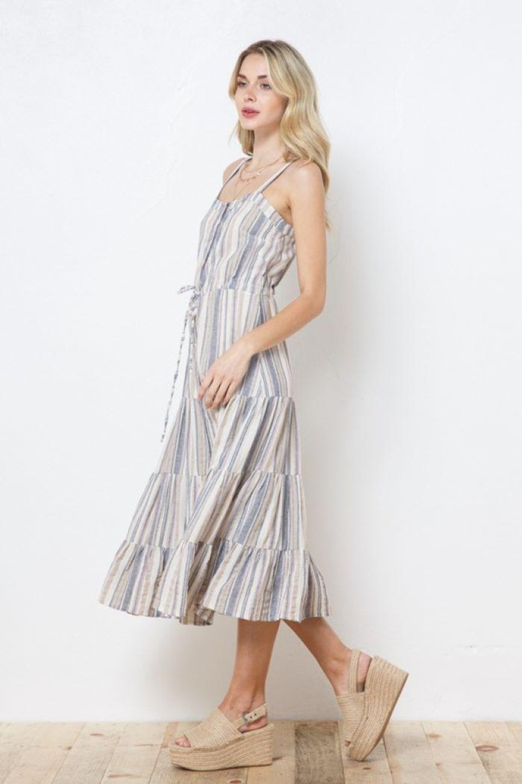 AKAIV Spaghetti Strap Tiered Sundress - Side Cropped Image