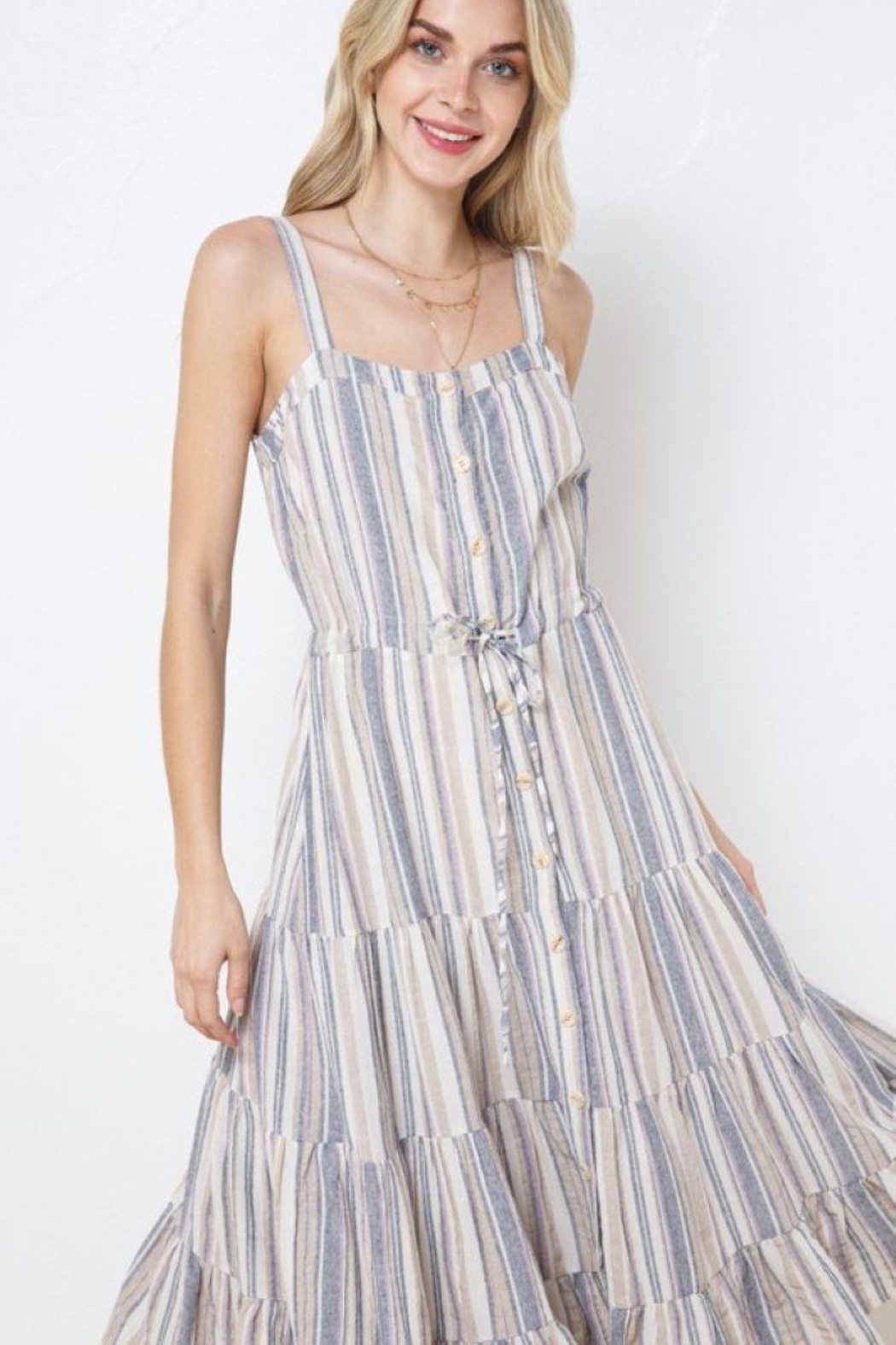 AKAIV Spaghetti Strap Tiered Sundress - Front Full Image
