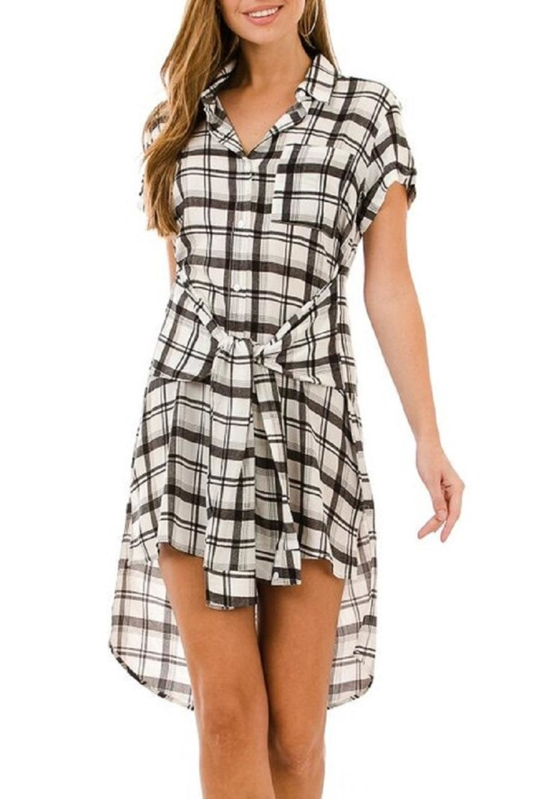 AKAIV Tie-Front Shirt Dress - Front Full Image