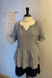 Beach Lunch Lounge Akia double cloth stripe top - Front cropped