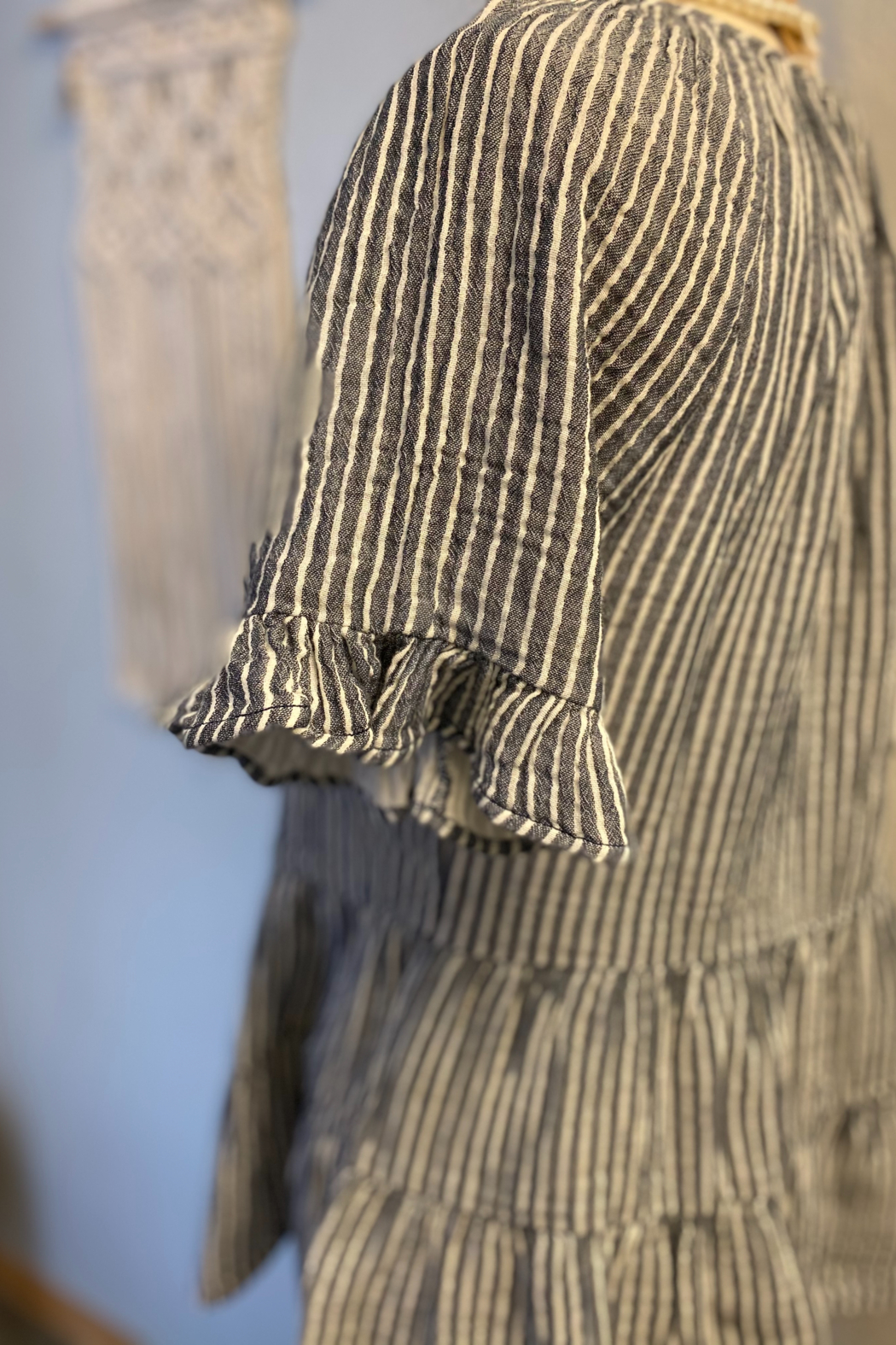 Beach Lunch Lounge Akia double cloth stripe top - Front Full Image