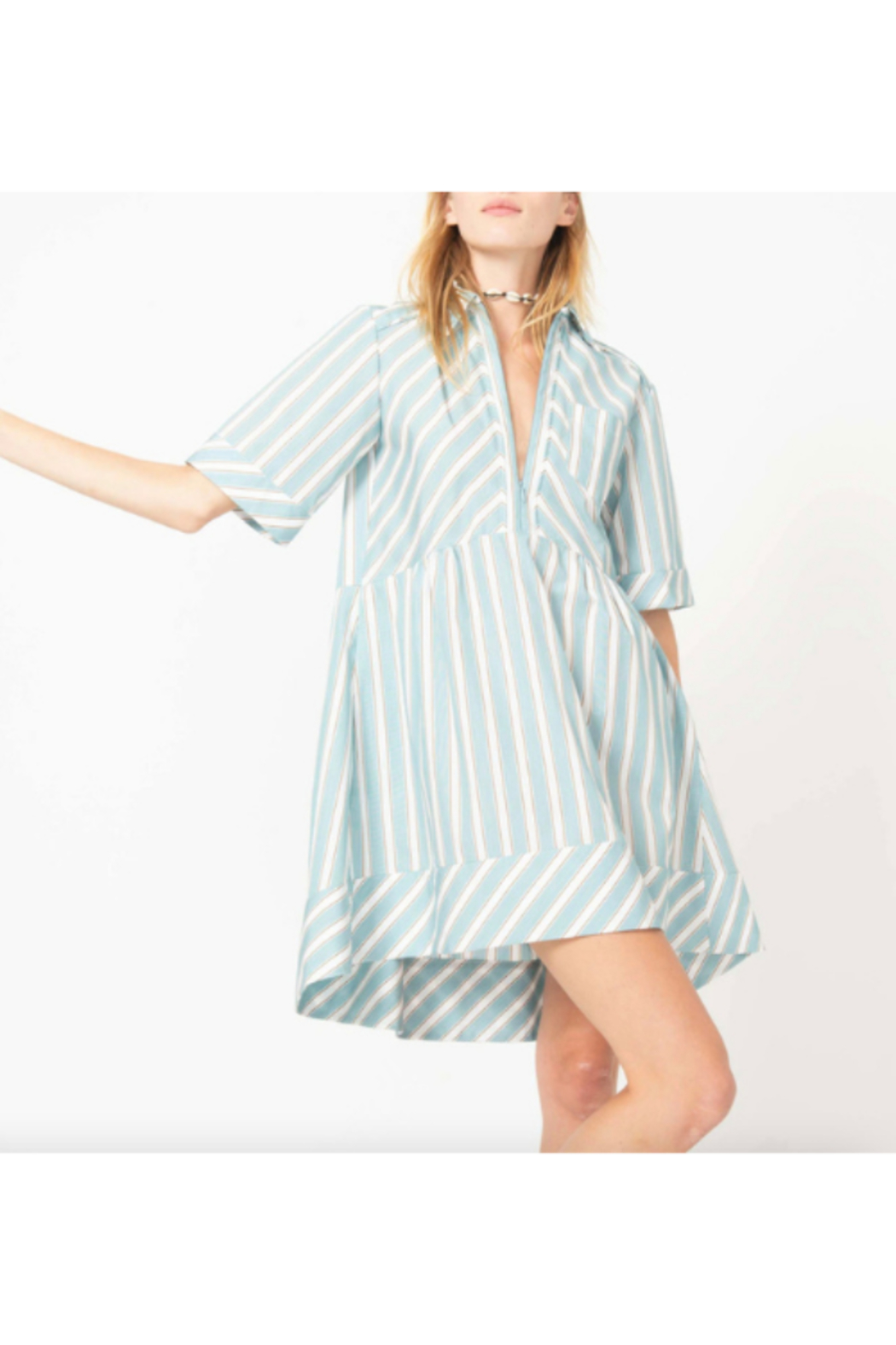 AKNVAS SHORT SLEEVE VNECK COTTON MINI SHIRT DRESS - Front Cropped Image