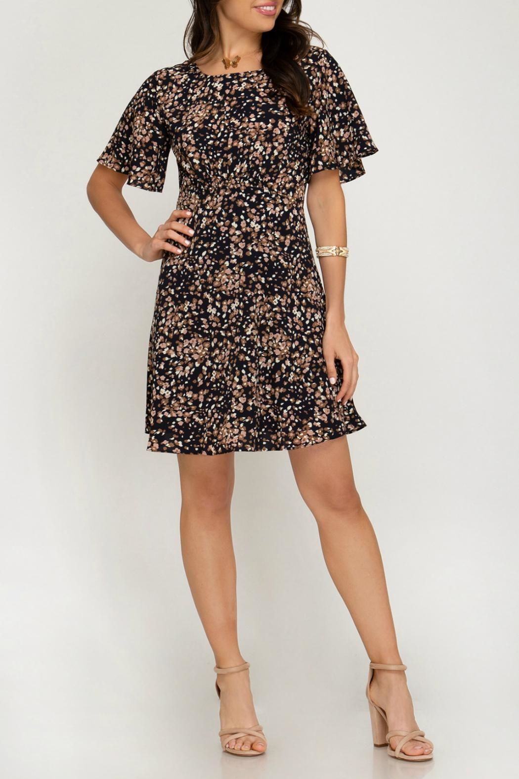 ALB Anchorage Cinched-Pattern Midi Dress - Back Cropped Image