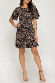 ALB Anchorage Cinched-Pattern Midi Dress - Back cropped