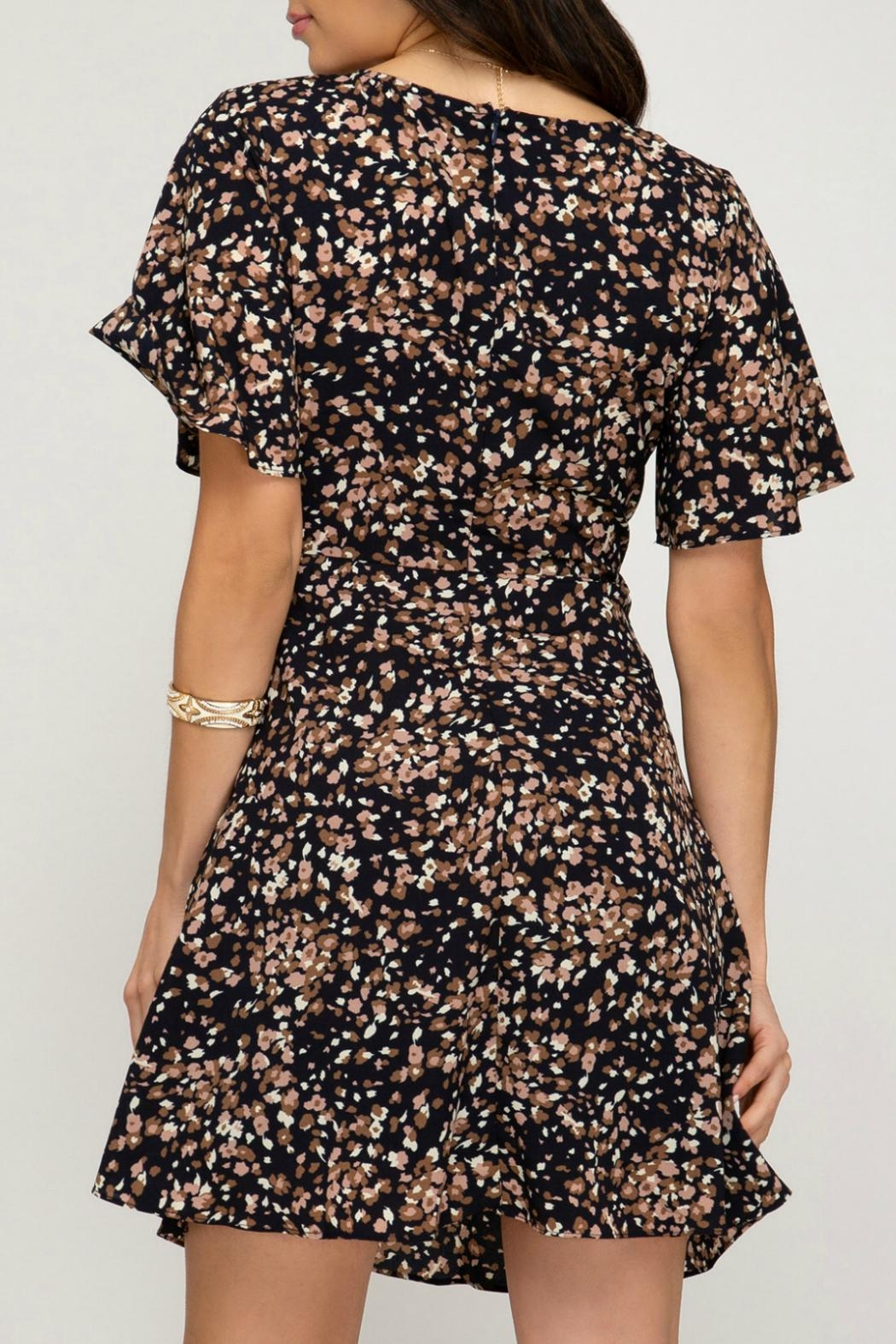 ALB Anchorage Cinched-Pattern Midi Dress - Front Full Image
