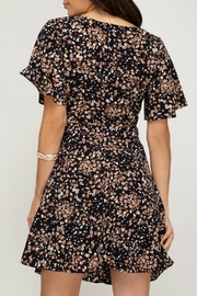 ALB Anchorage Cinched-Pattern Midi Dress - Front full body