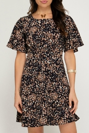 ALB Anchorage Cinched-Pattern Midi Dress - Front cropped
