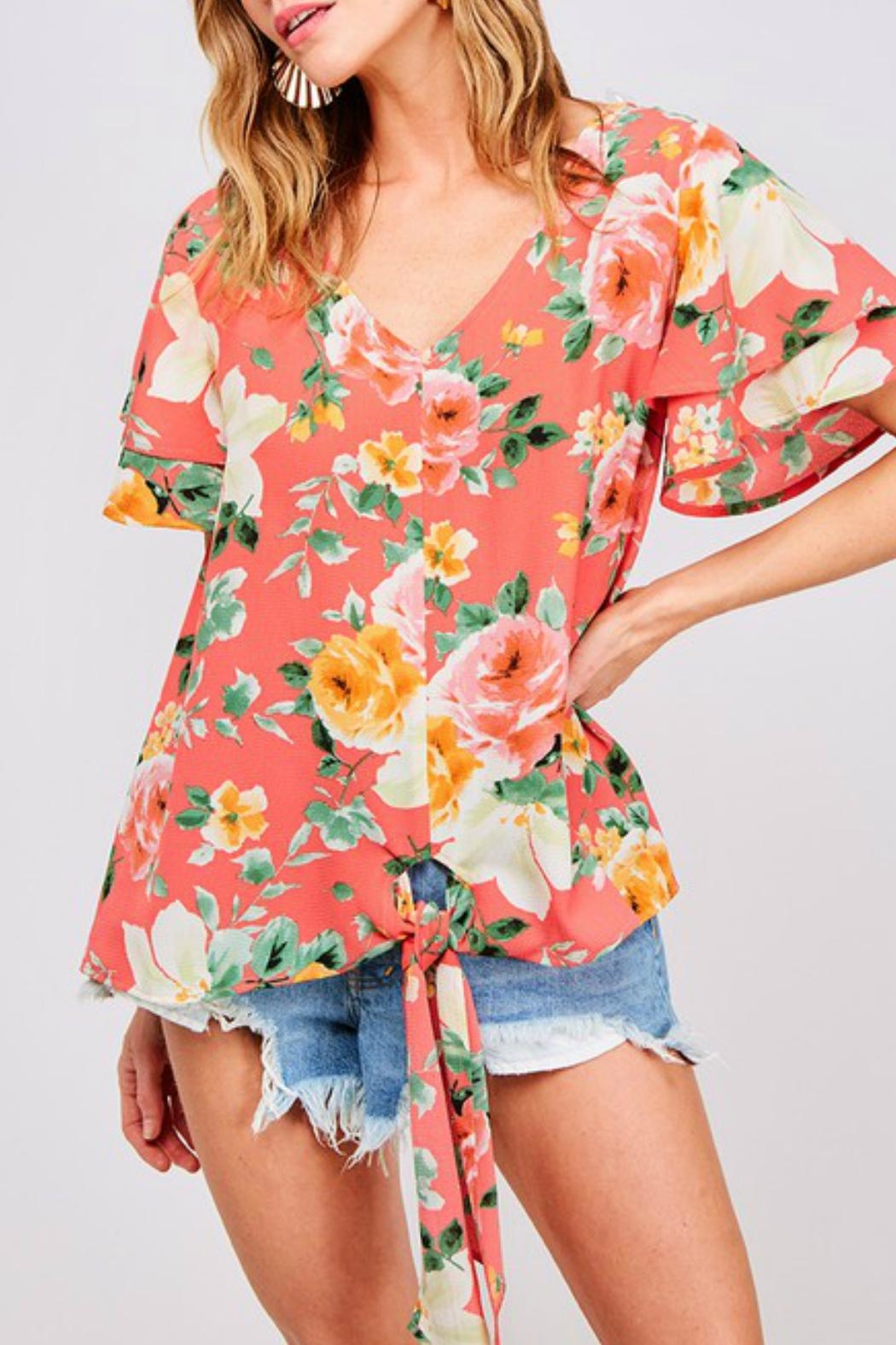 ALB Anchorage Front-Tie Floral Blouse - Front Full Image