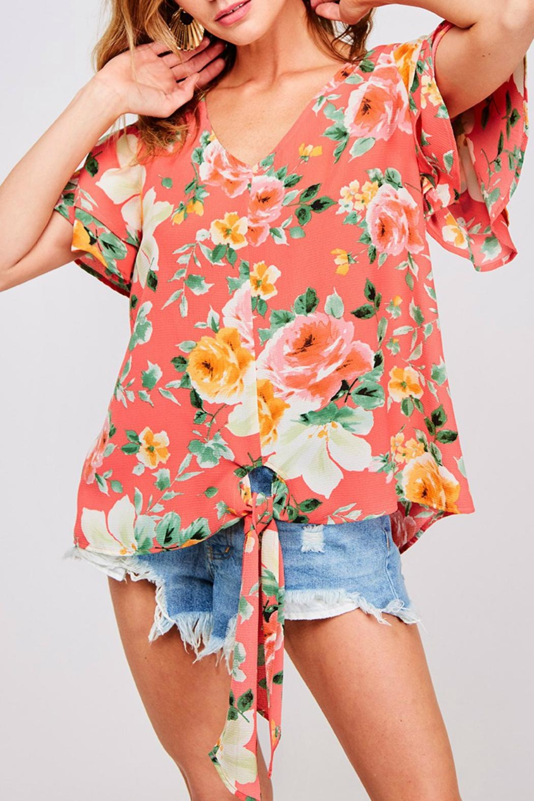 ALB Anchorage Front-Tie Floral Blouse - Main Image
