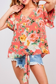 ALB Anchorage Front-Tie Floral Blouse - Product Mini Image