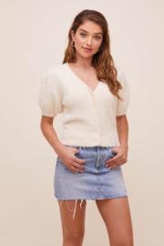 ASTR the Label Alba Puff Sleeve Cardigan - Product Mini Image