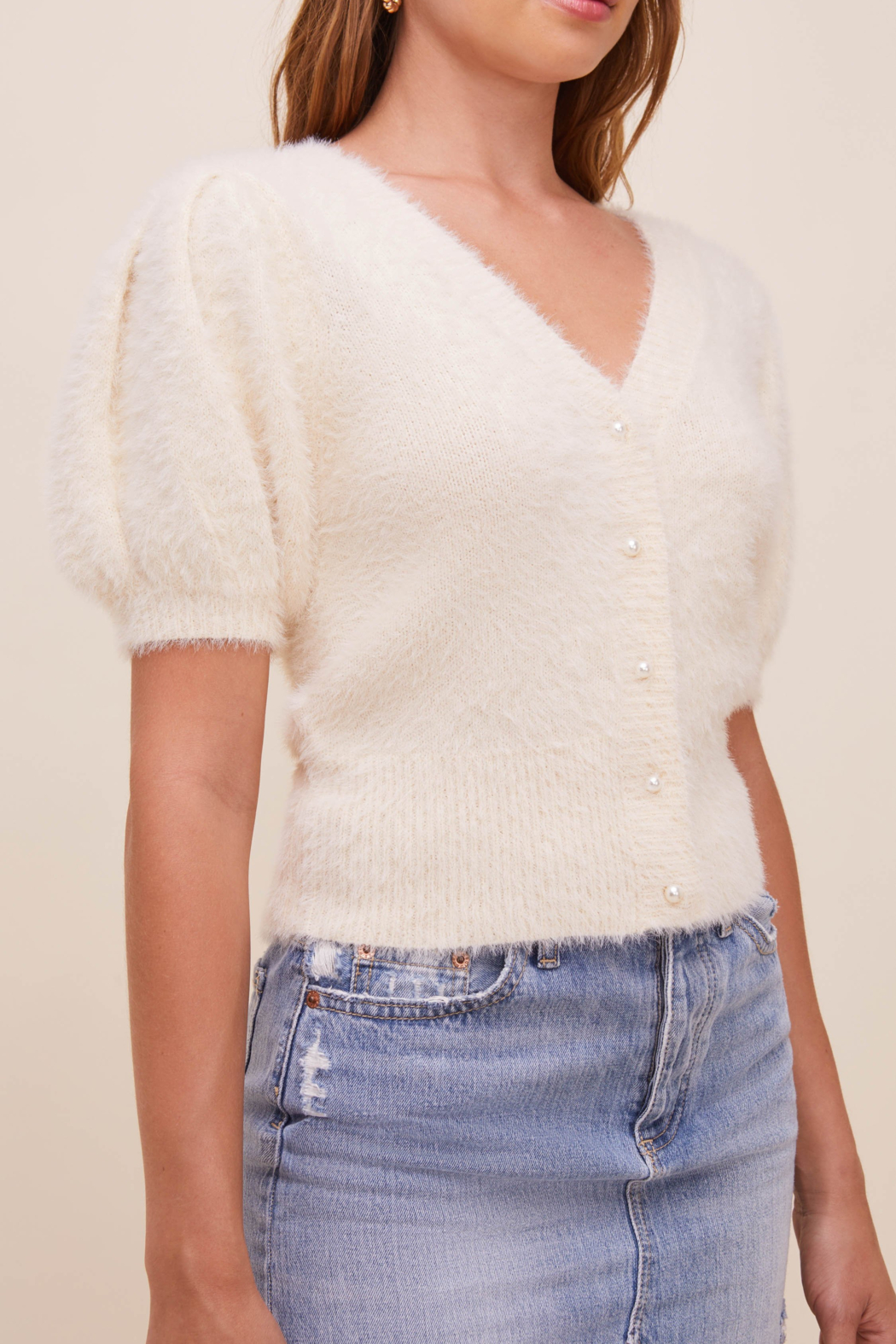 ASTR the Label Alba Puff Sleeve Cardigan - Front Full Image