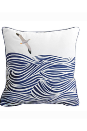 RIGHT SIDE DESIGN Albatross and Waves Indoor/Outdoor Pillow - Front cropped