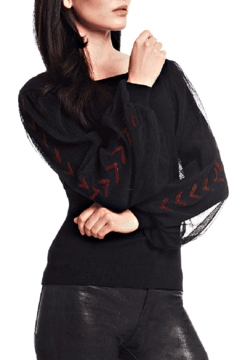 Alberto Makali Knit with Illusion Sleeves in Black - Alternate List Image