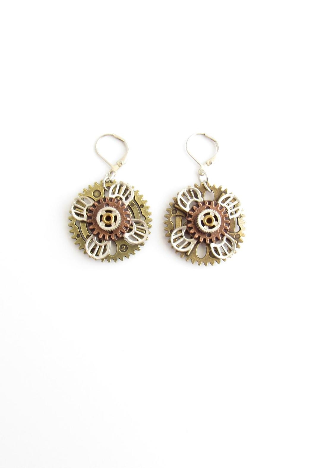 Alchemy Metal Flower Earrings - Front Cropped Image