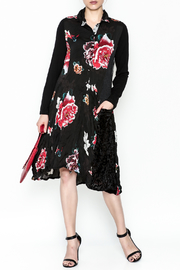 Alembika Black Mixed Floral Dress - Front cropped