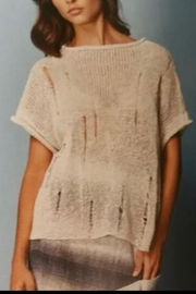 Alembika Distressed Cream Sweater - Front cropped