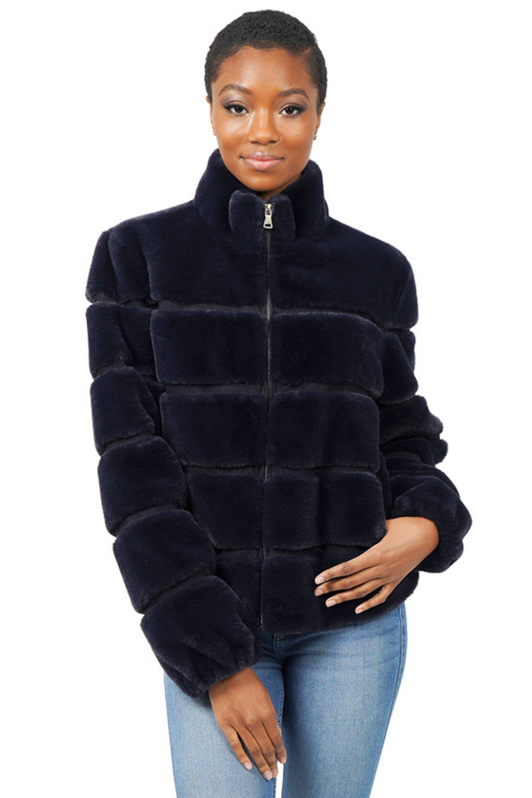 love token Alex Faux Fur Bomber Jacket - Front Cropped Image