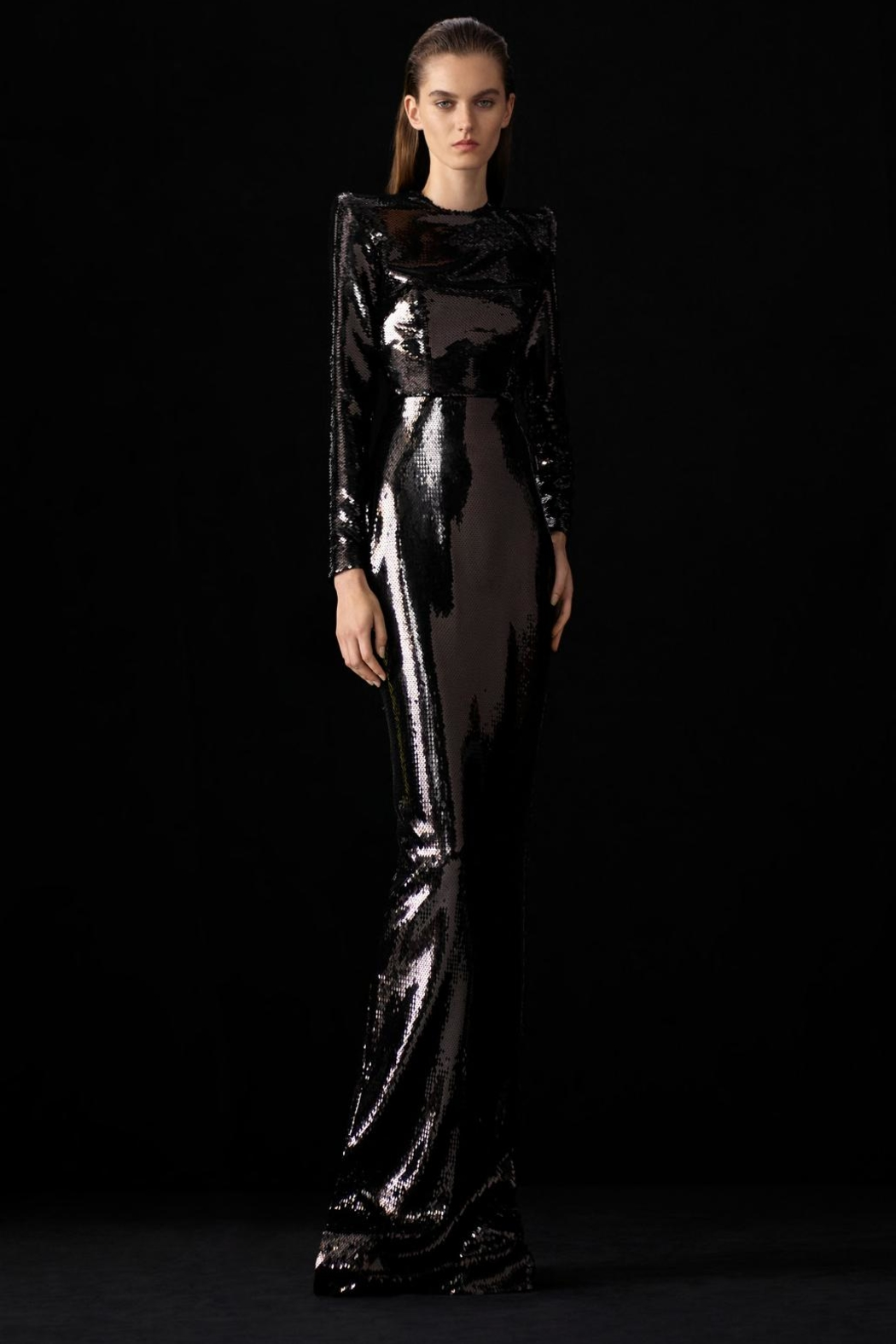 Alex Perry Hutton-Sequin Long Sleeve Column Gown - Main Image