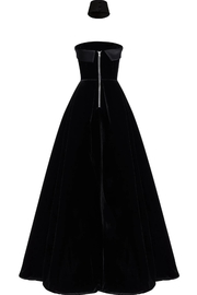 Alex Perry Strapless Velvet Gown - Side cropped
