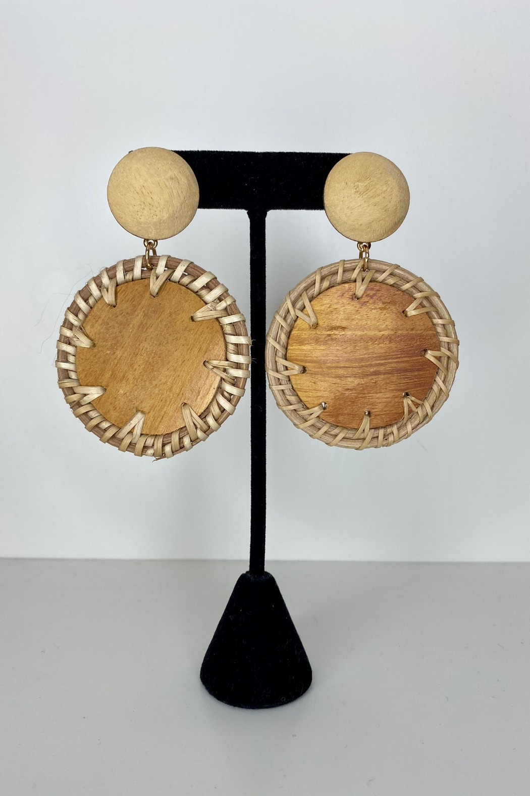 Adriana Bijoux Alexa Wooden Circle Earrings - Main Image