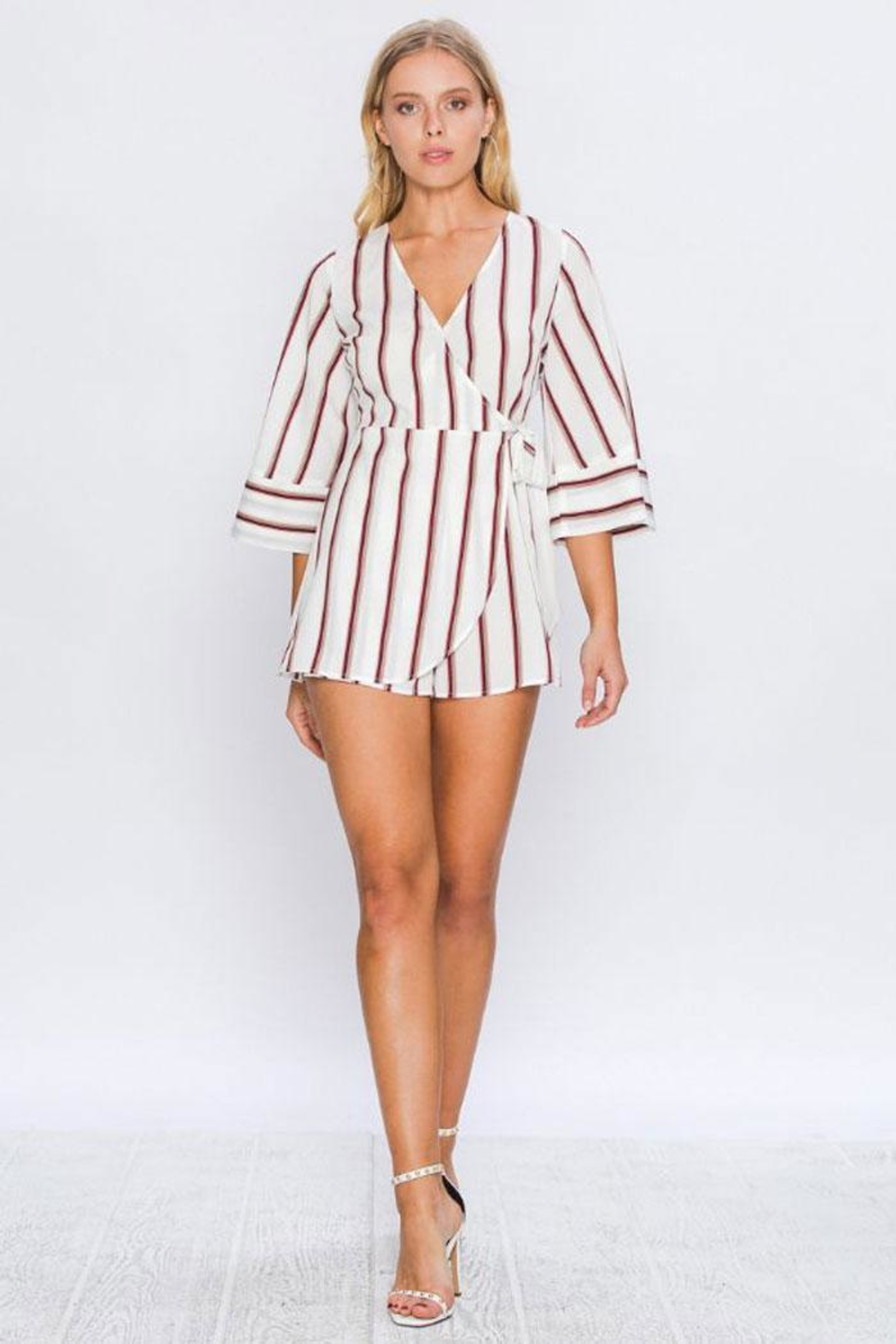 Flying Tomato Alexa Striped Romper - Front Cropped Image