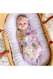 Little Sleepies Alexandra Floral Bamboo Swaddle & Headband Set - Front cropped