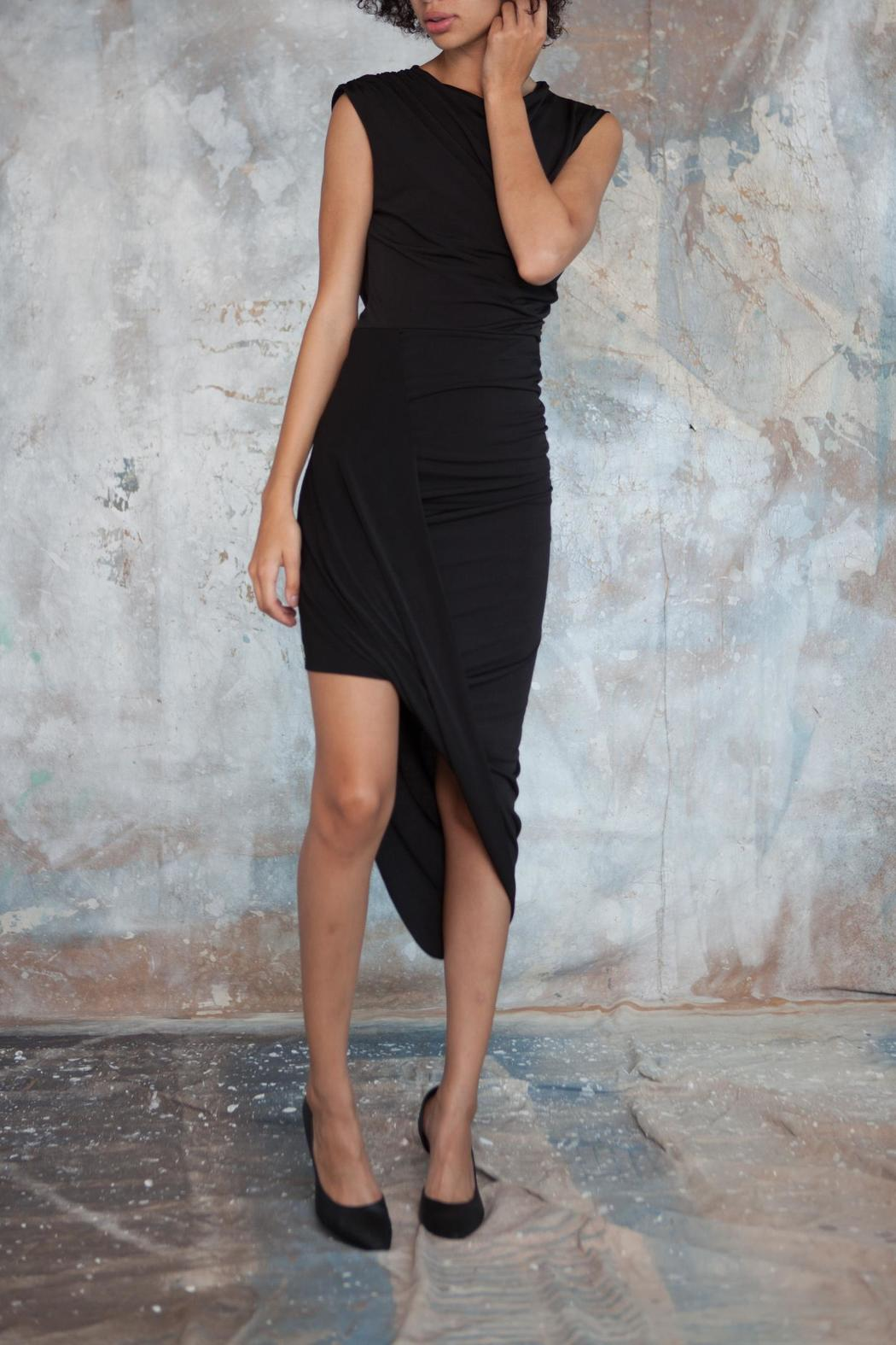 Alexia Klein Black Draped Dress - Side Cropped Image