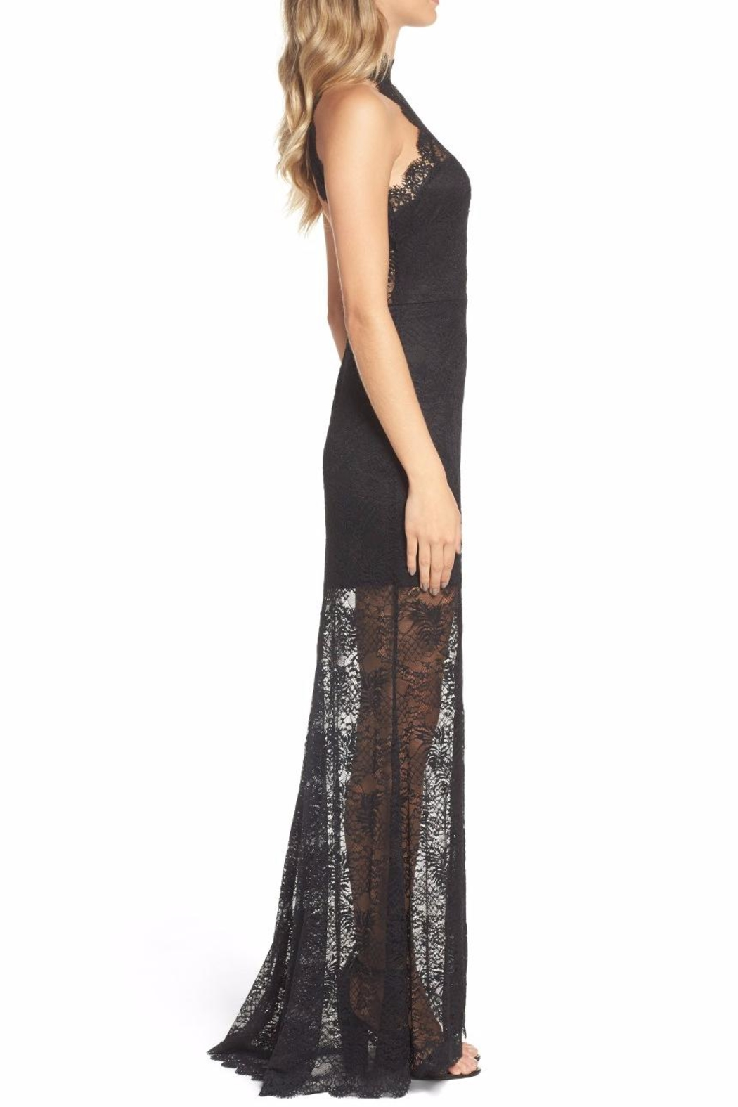 Ali & Jay Black Lace Gown - Side Cropped Image