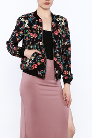 Alice Blue Black Floral Bomber Jacket - Product Mini Image