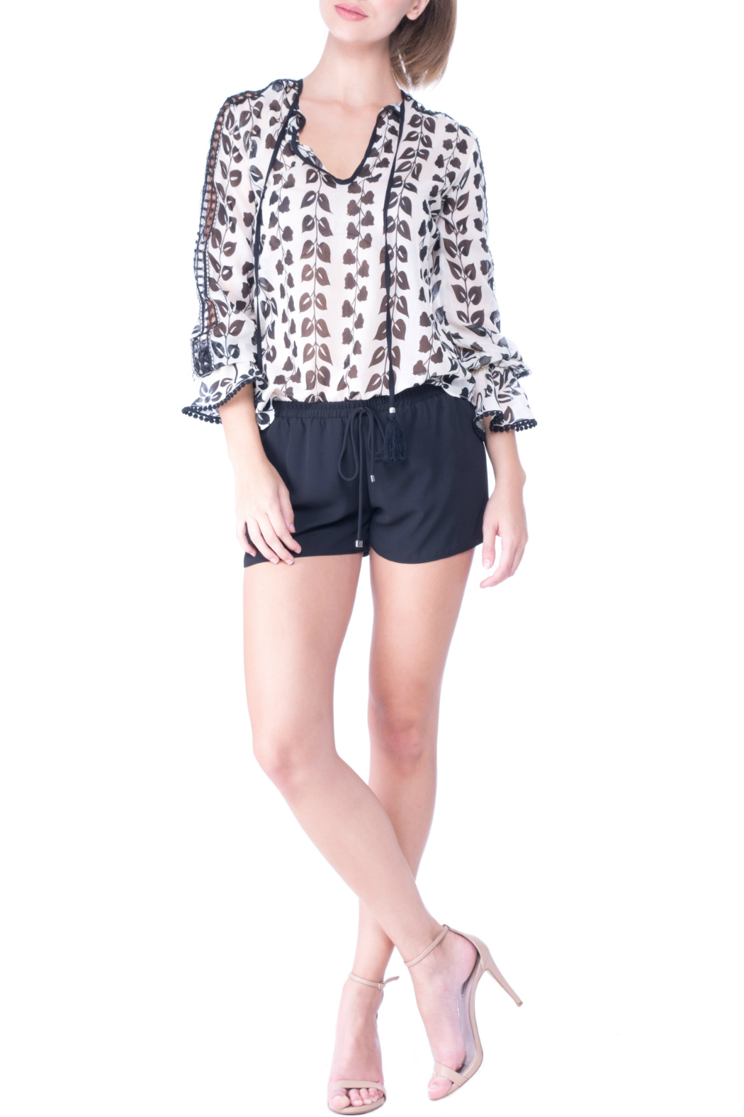 Atina Cristina Alice Printed Blouse with Lace Detail - Main Image