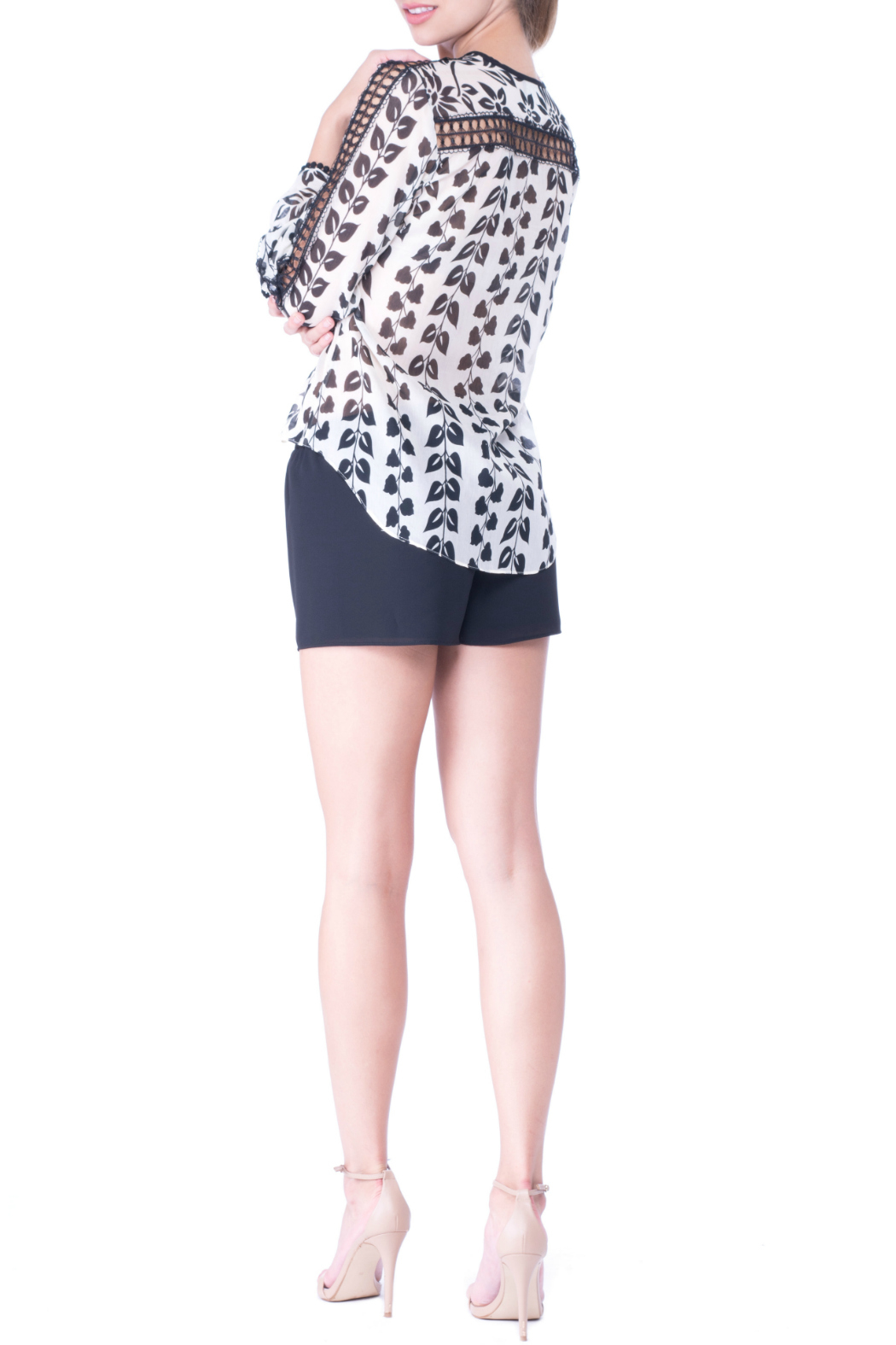 Atina Cristina Alice Printed Blouse with Lace Detail - Front Full Image