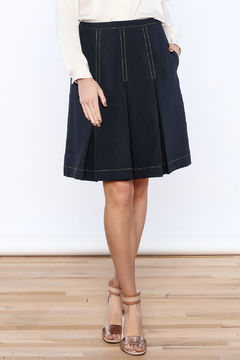 Shoptiques Product: Navy Pleated Knee Skirt