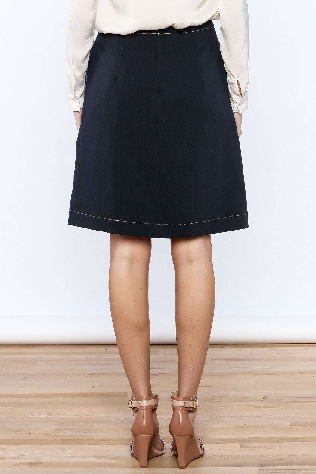 Alice's Pig Navy Pleated Knee Skirt - Back Cropped Image