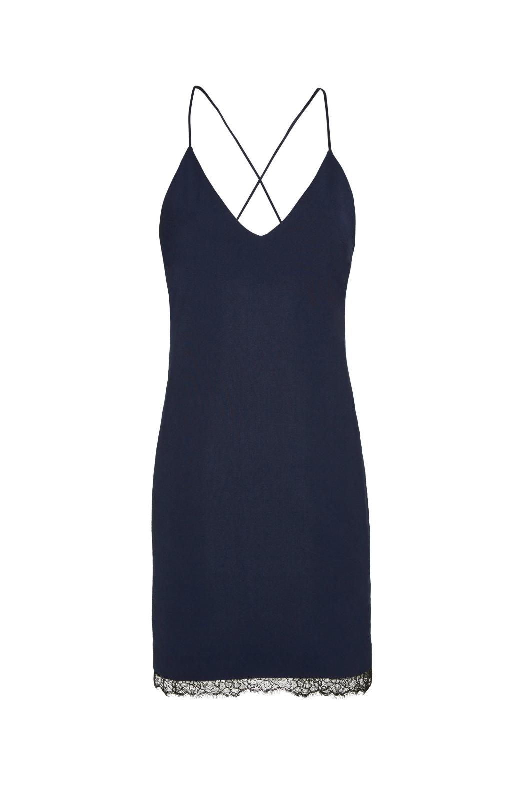 Alice + Olivia Navy Sleeveless Sheath Dress - Side Cropped Image