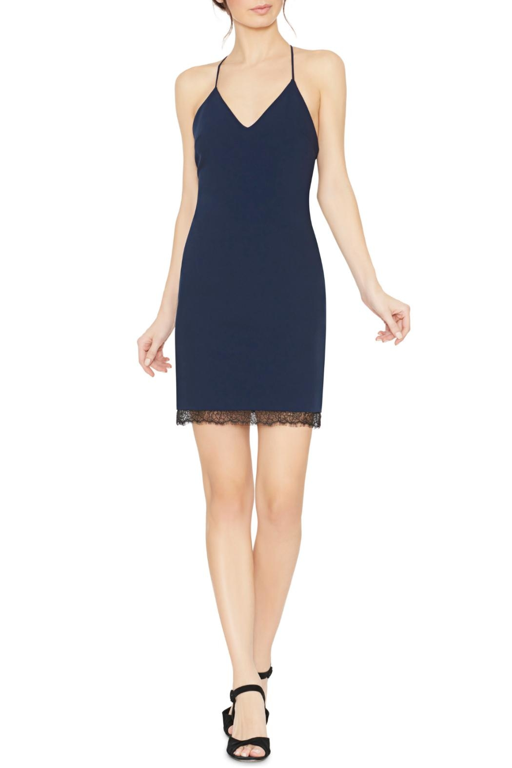 Alice + Olivia Navy Sleeveless Sheath Dress - Front Cropped Image
